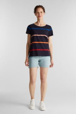 Striped T-shirt, 100% cotton, NAVY, detail