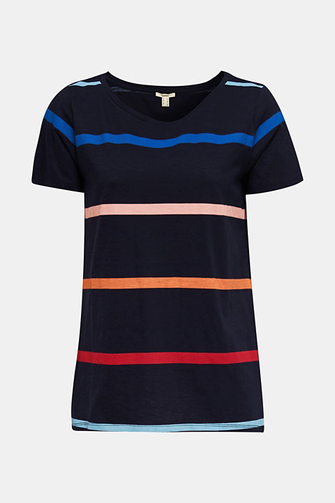 Slub top with stripes, 100% cotton
