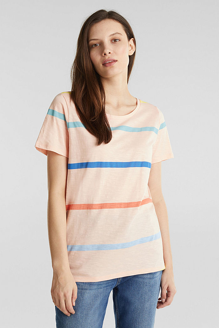 Striped T-shirt, 100% cotton, PEACH, detail image number 0