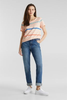 Striped T-shirt, 100% cotton, PEACH, detail