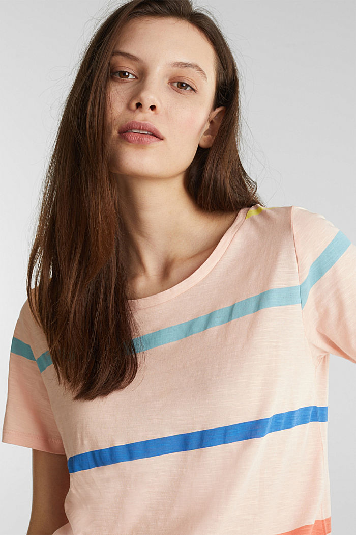 Striped T-shirt, 100% cotton, PEACH, detail image number 5