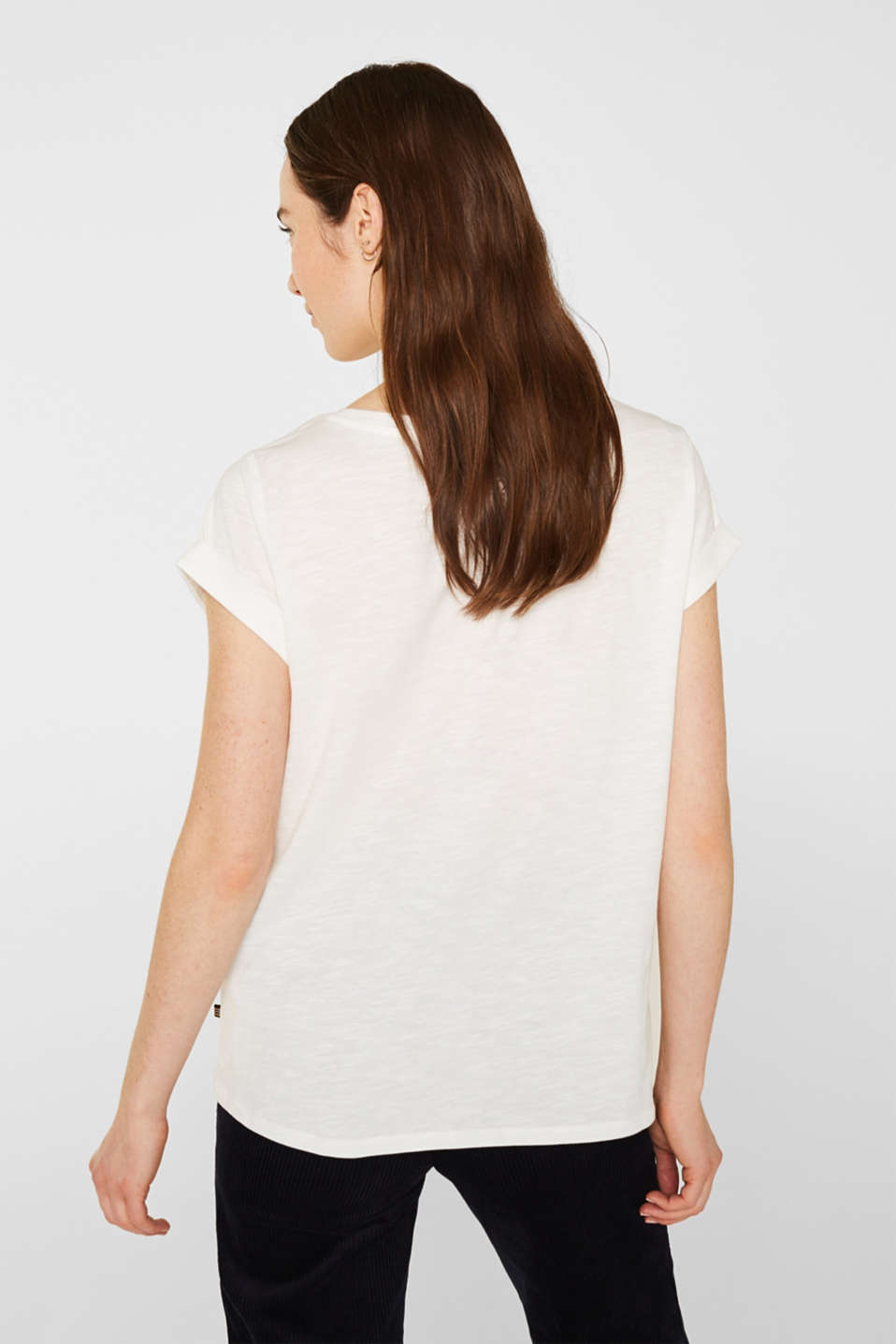Slub T-shirt with print, 100% cotton, OFF WHITE, detail image number 3