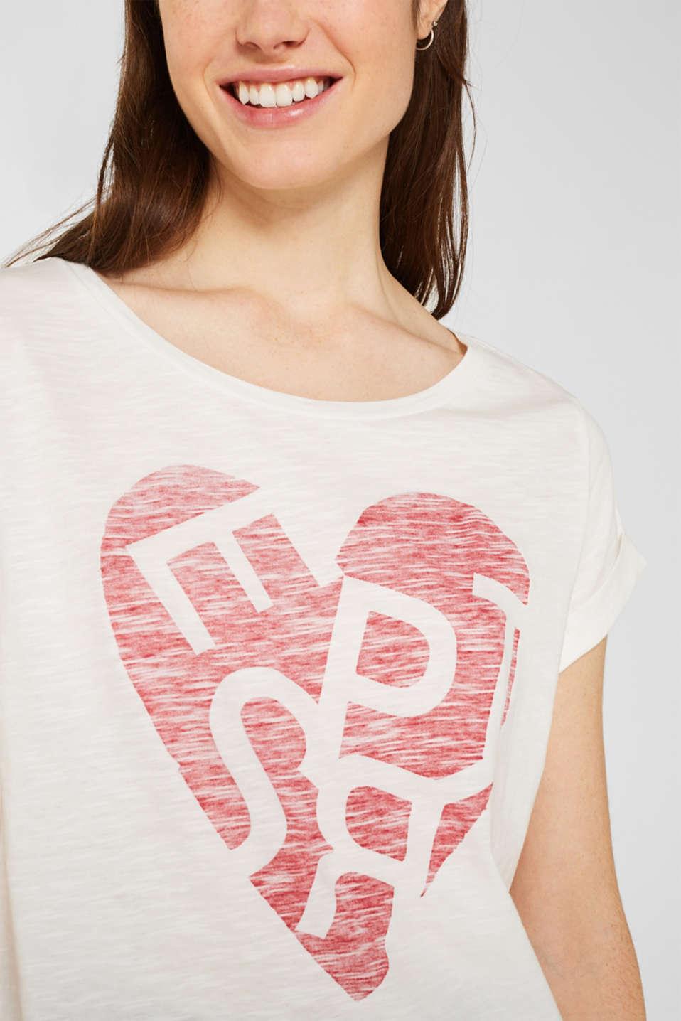 Slub T-shirt with print, 100% cotton, OFF WHITE, detail image number 2