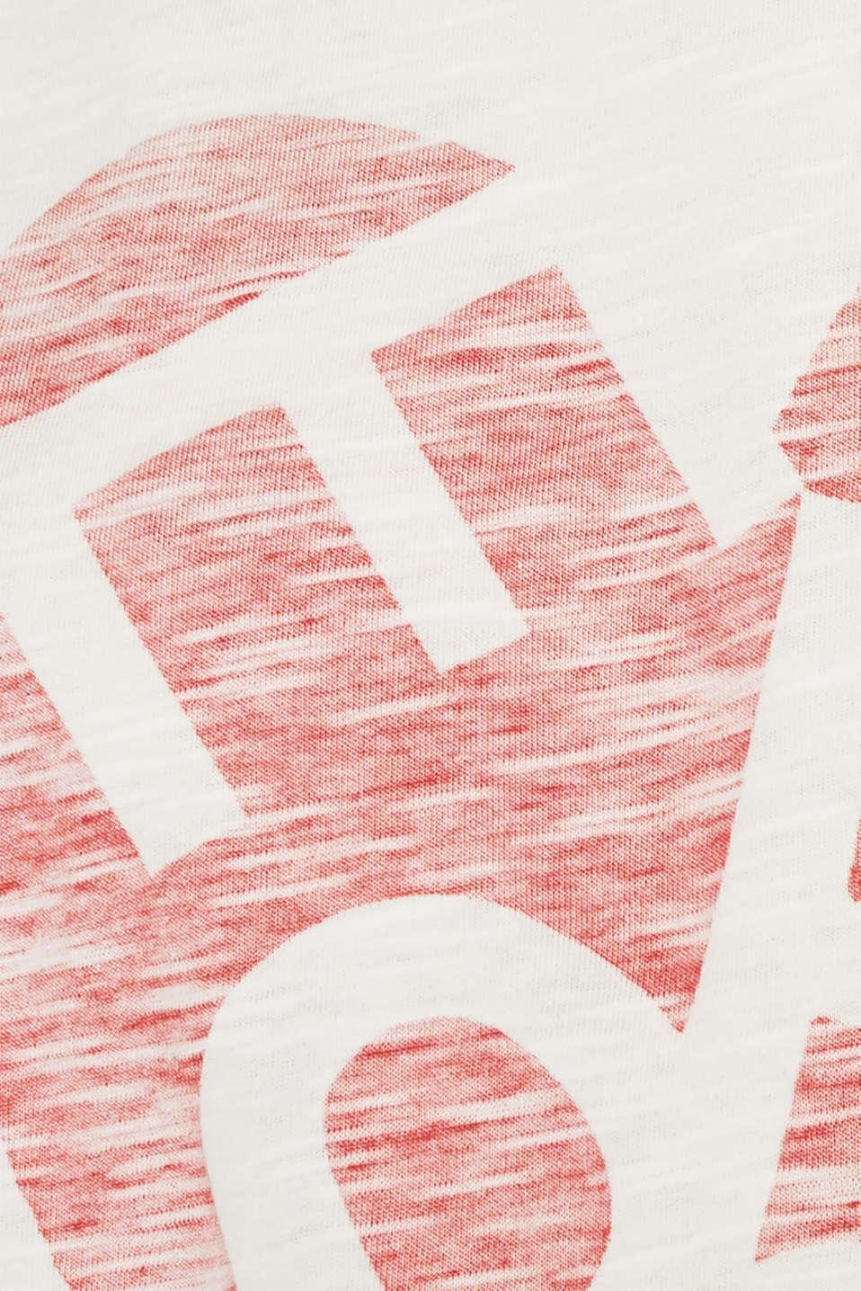 Slub T-shirt with print, 100% cotton, OFF WHITE, detail image number 4
