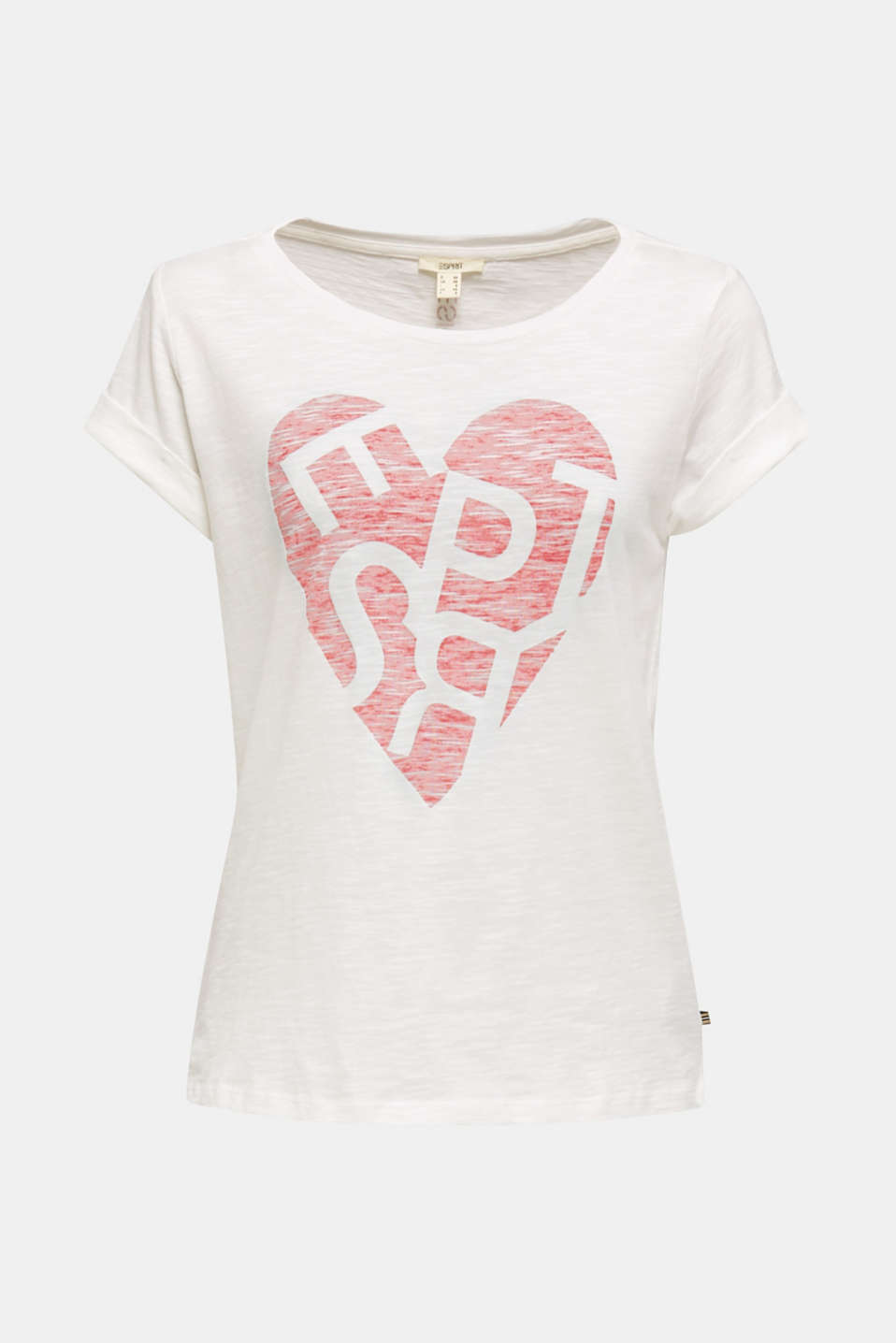 Slub T-shirt with print, 100% cotton, OFF WHITE, detail image number 6