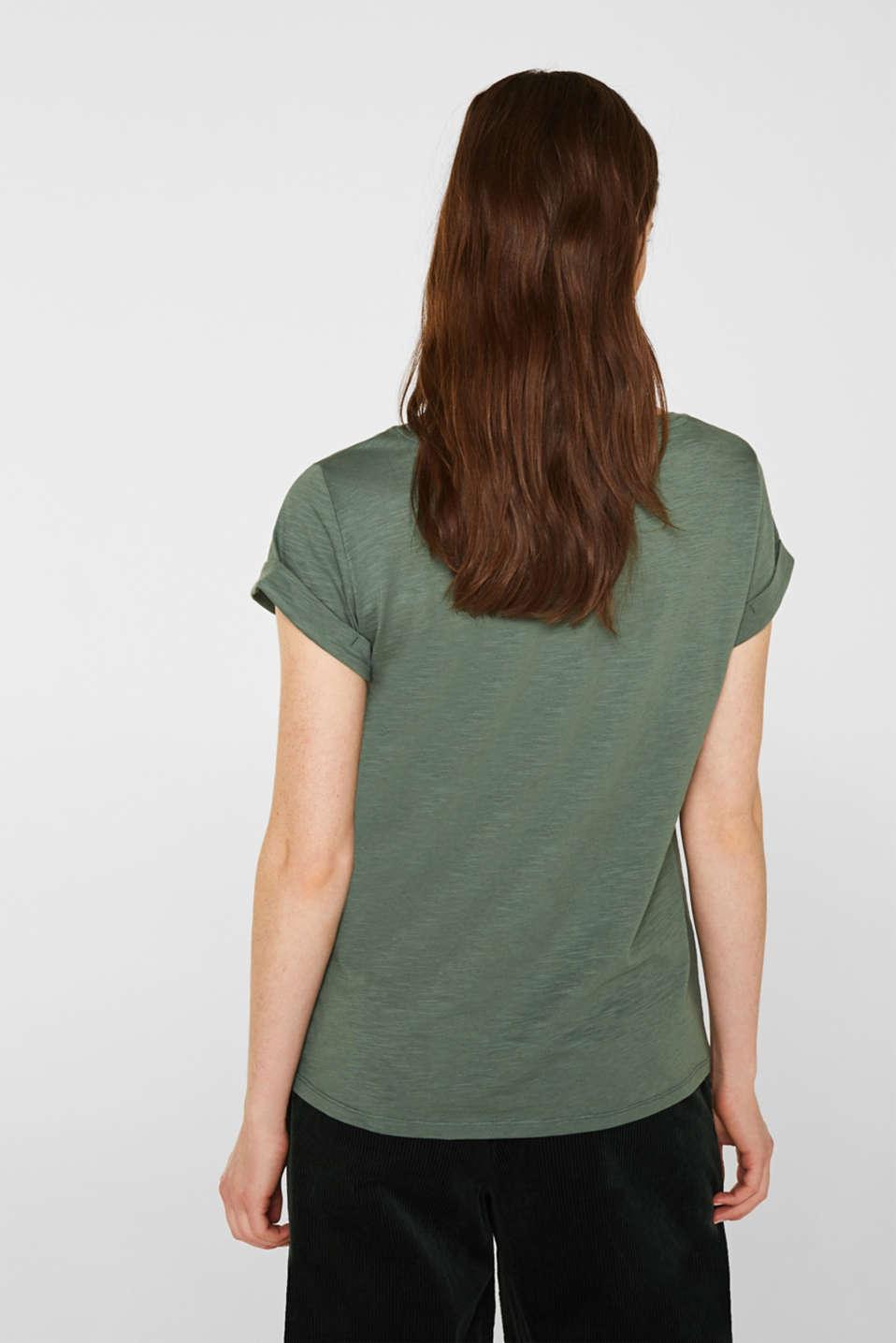 Slub T-shirt with print, 100% cotton, KHAKI GREEN, detail image number 3