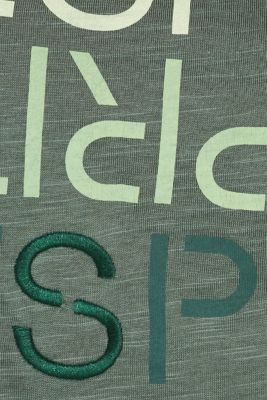 Slub T-shirt with print, 100% cotton, KHAKI GREEN, detail