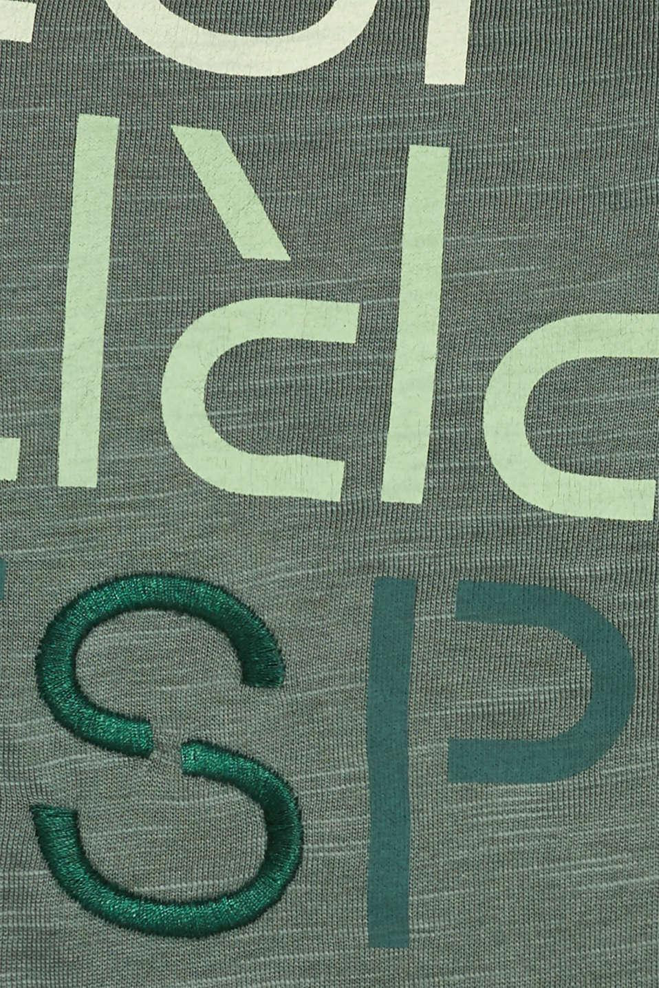Slub T-shirt with print, 100% cotton, KHAKI GREEN, detail image number 4