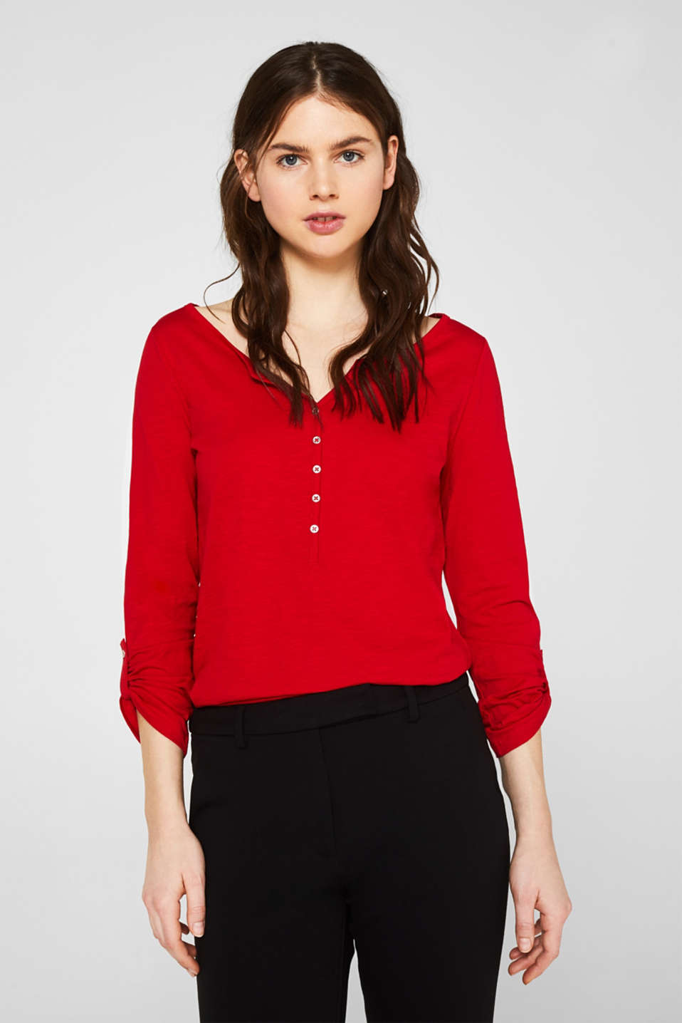 Long sleeve top with turn-up sleeves, 100% cotton, DARK RED, detail image number 0