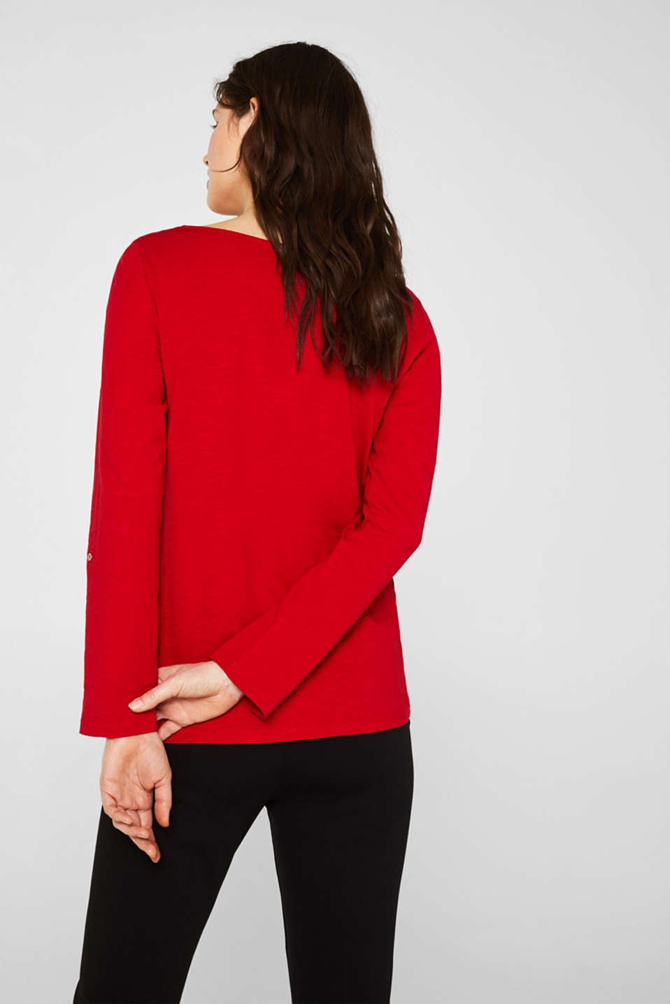 Long sleeve top with turn-up sleeves, 100% cotton, DARK RED, detail image number 3