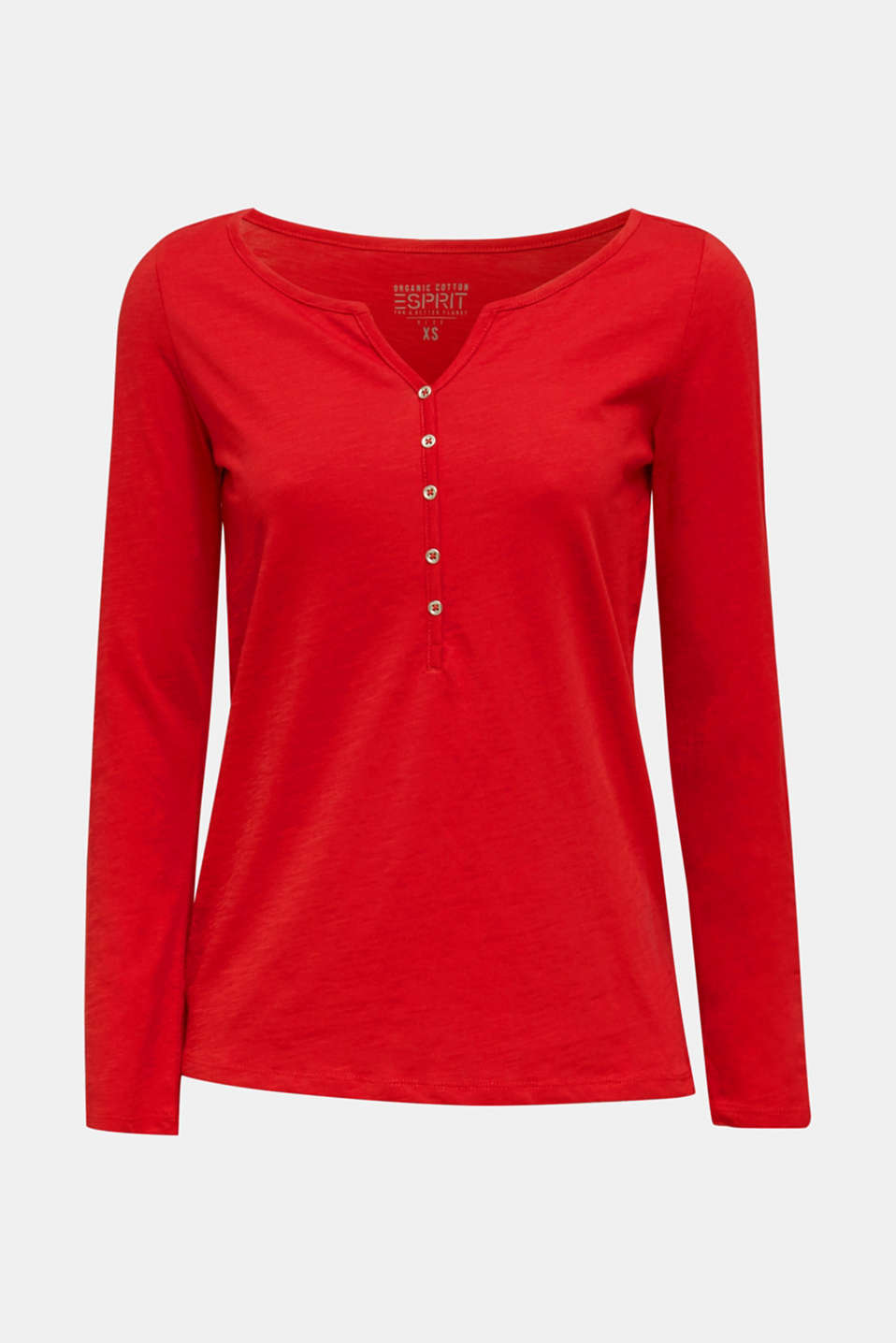 Long sleeve top with turn-up sleeves, 100% cotton, DARK RED, detail image number 6