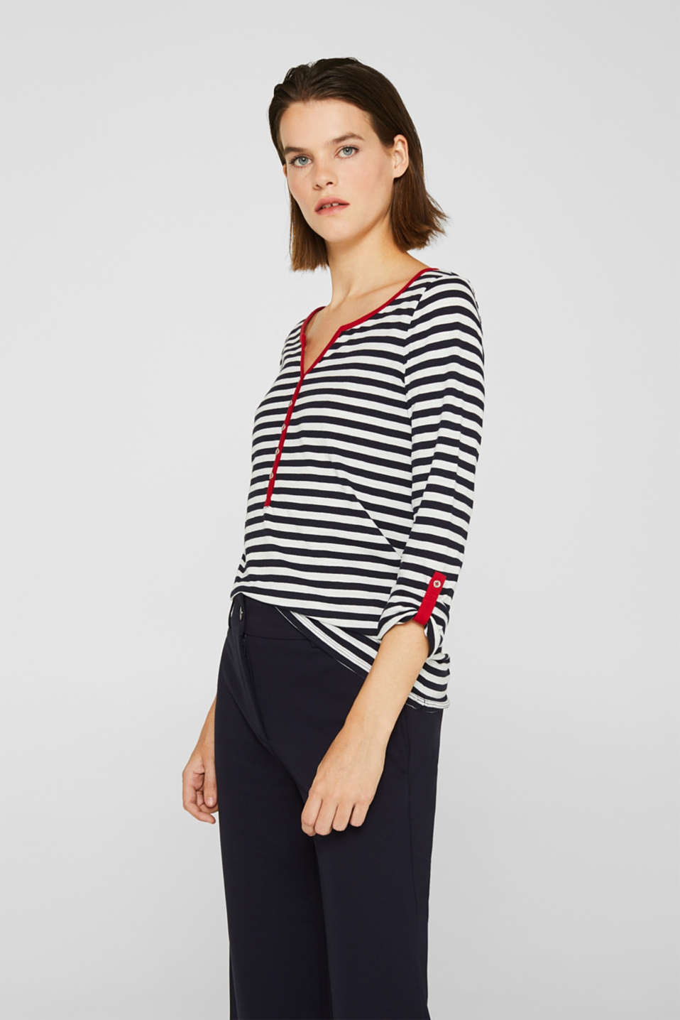 Long sleeve top with a button placket, 100% organic cotton, NAVY, detail image number 0