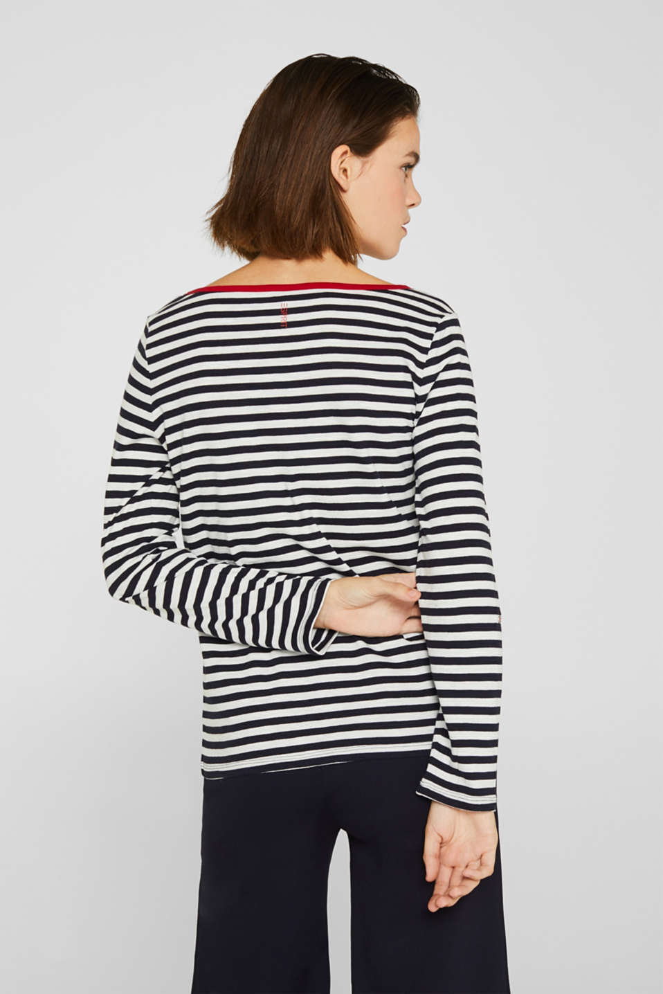Long sleeve top with a button placket, 100% organic cotton, NAVY, detail image number 3