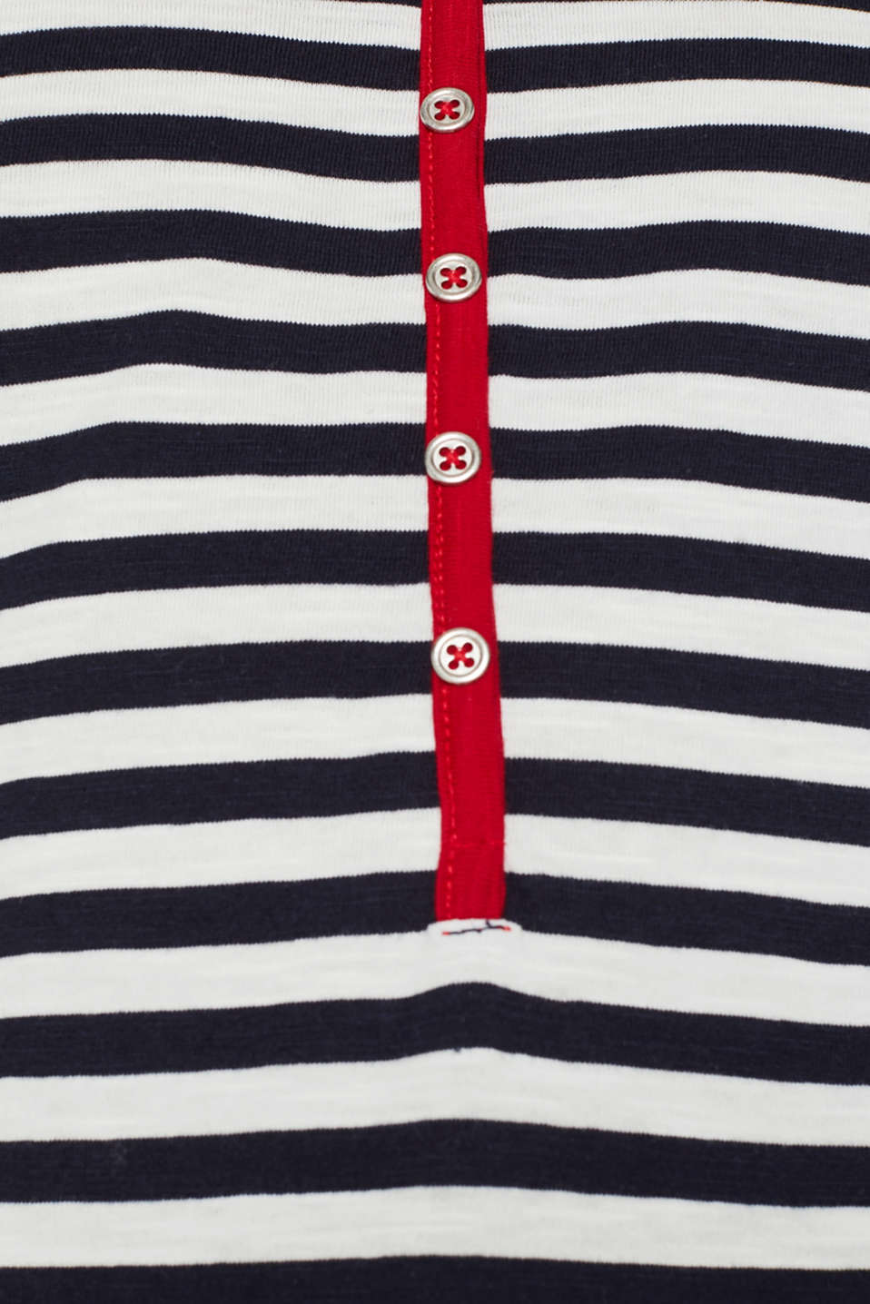 Long sleeve top with a button placket, 100% organic cotton, NAVY, detail image number 4