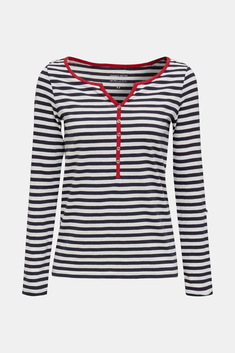 Long sleeve top with a button placket, 100% organic cotton, NAVY, detail image number 5