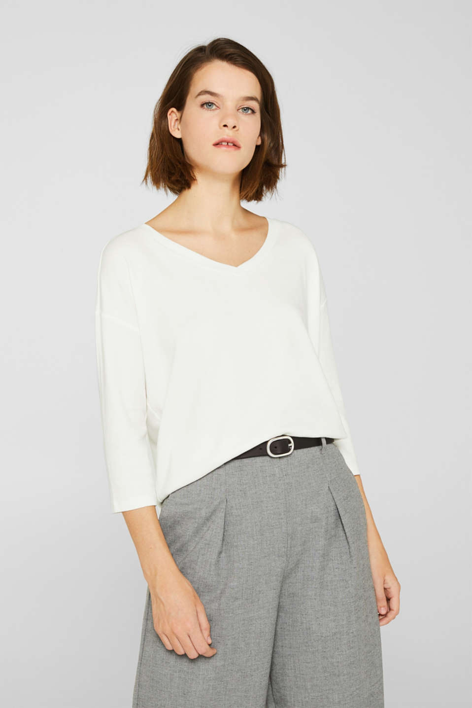 Stretch T-shirt with a V-neckline, OFF WHITE, detail image number 0