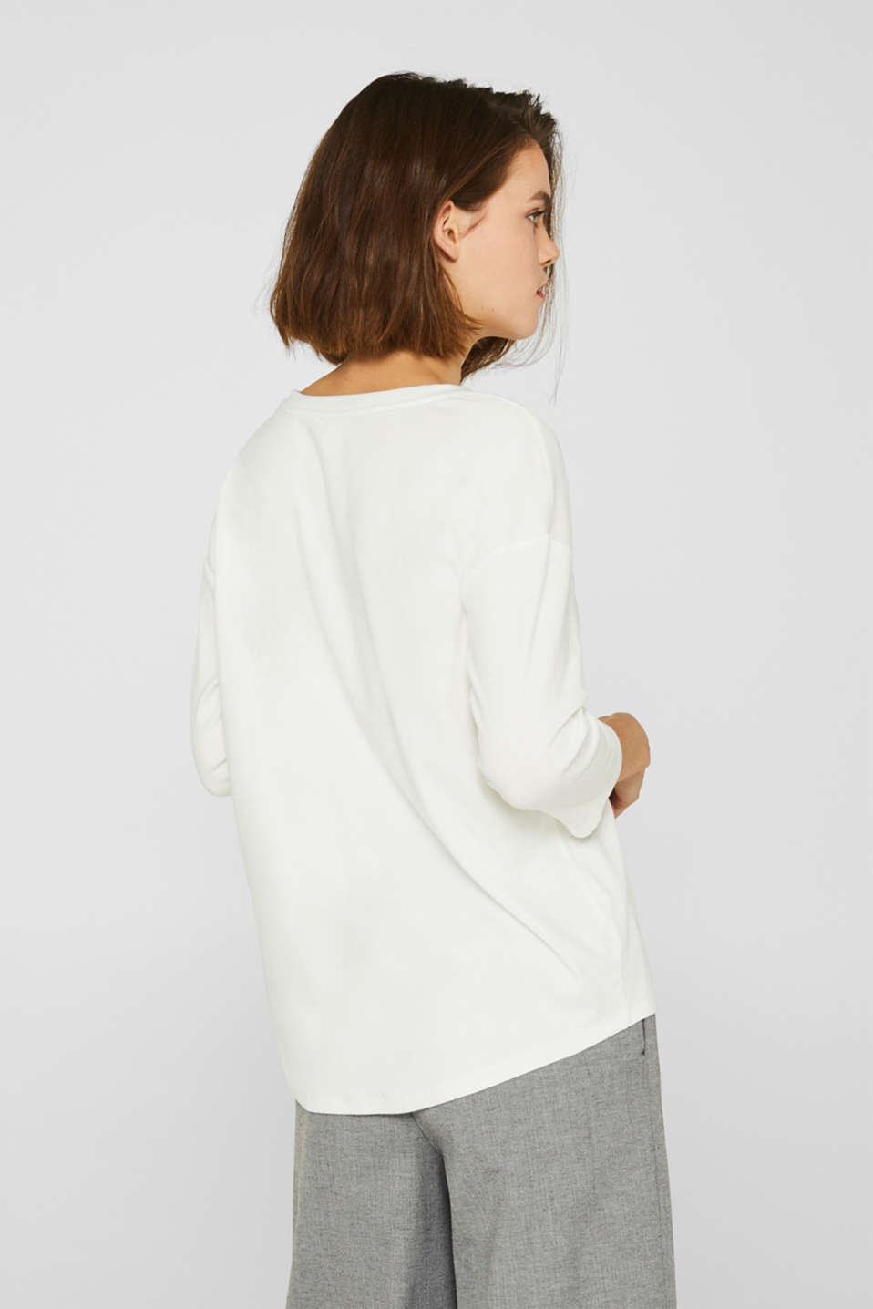 Stretch T-shirt with a V-neckline, OFF WHITE, detail image number 3