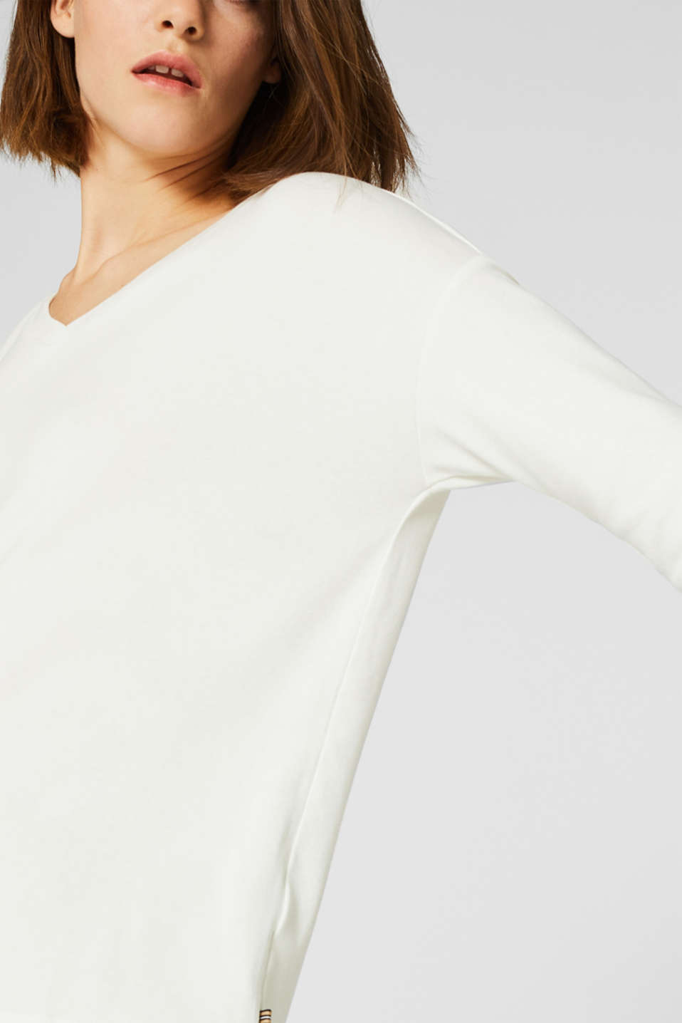 Stretch T-shirt with a V-neckline, OFF WHITE, detail image number 2