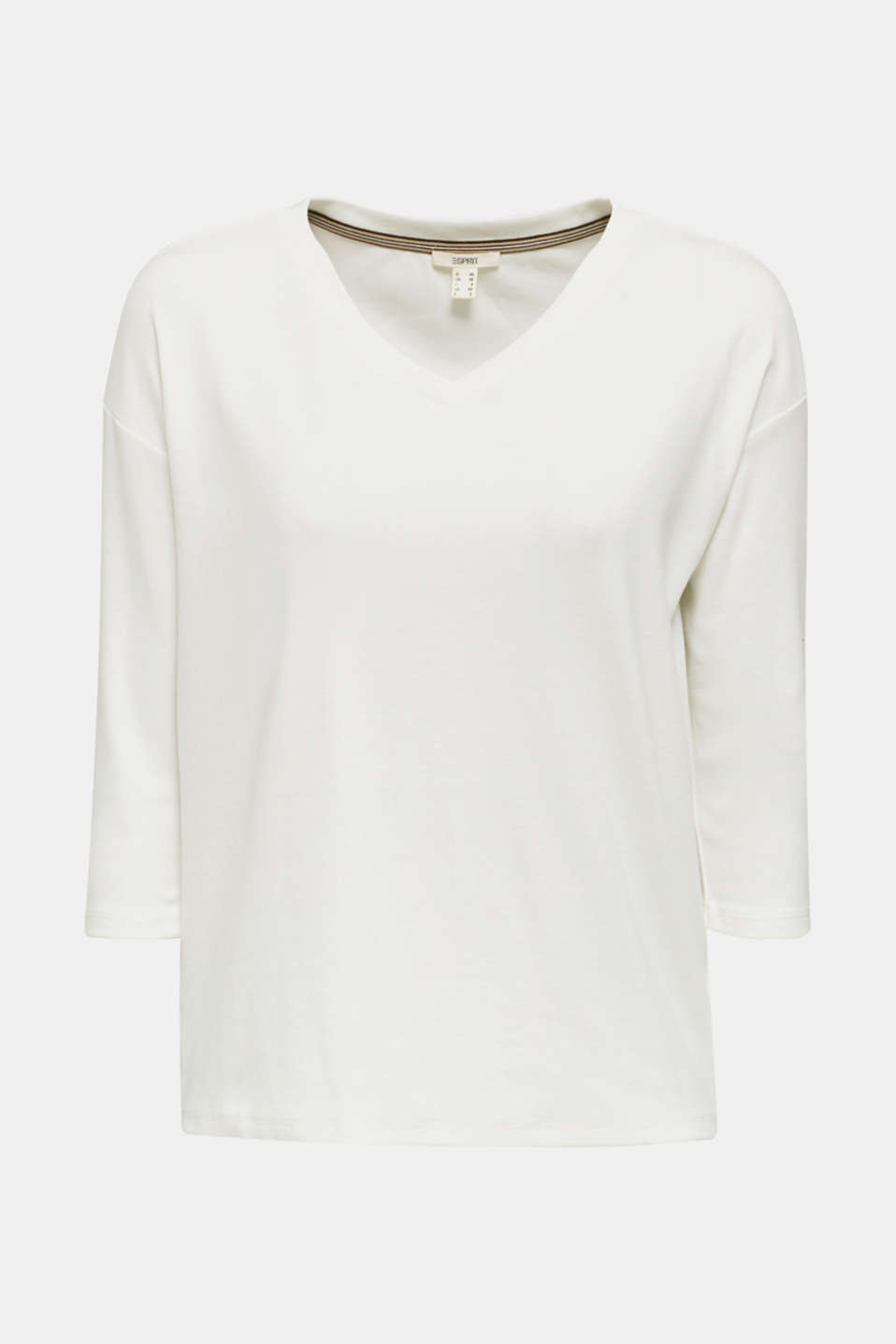 Stretch T-shirt with a V-neckline, OFF WHITE, detail image number 6