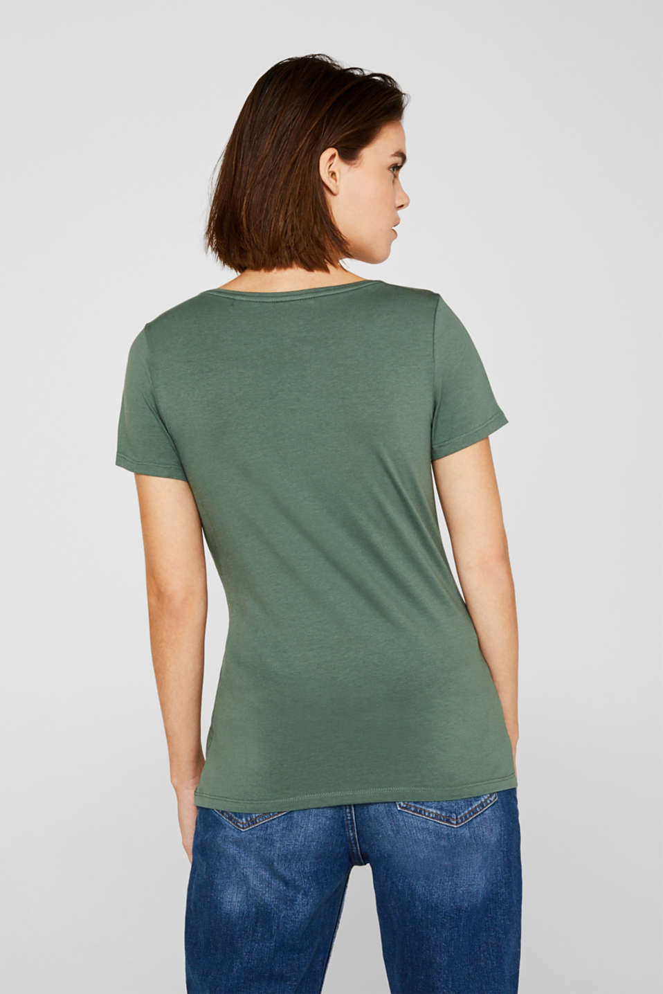 Stretch top with a large neckline, KHAKI GREEN 4, detail image number 3