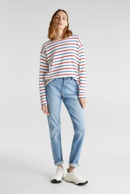 Striped long sleeve top with a button placket, OFF WHITE, detail