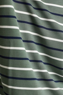 Striped long sleeve top with a button placket