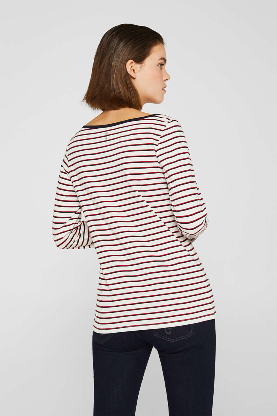 Long sleeve top with turn-up sleeves, 100% cotton, OFF WHITE, detail image number 2