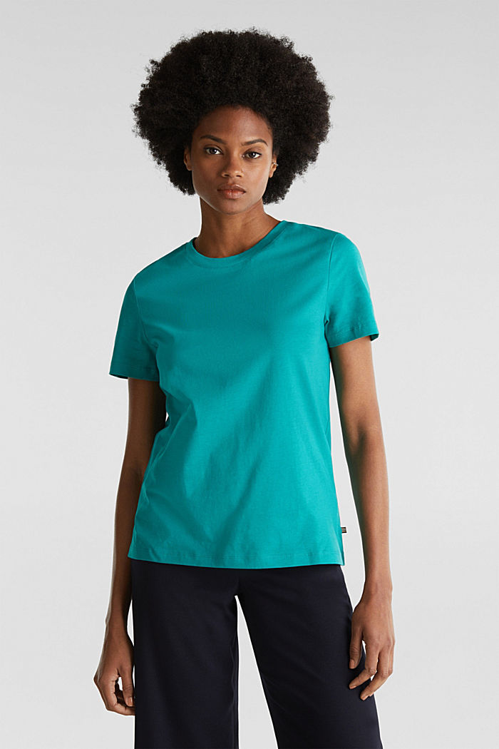 Basic T-shirt, 100% organic cotton, TEAL GREEN, detail image number 0