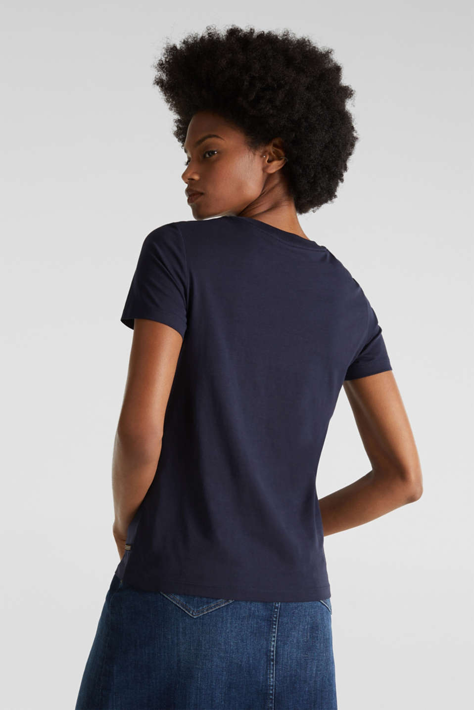 Basic T-shirt, 100% organic cotton, NAVY, detail image number 3