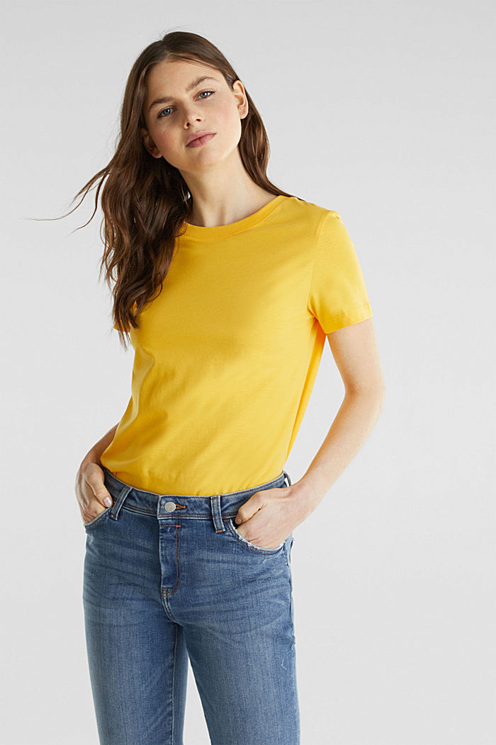 T-shirt dal look basic, 100% cotone biologico, YELLOW, detail image number 0
