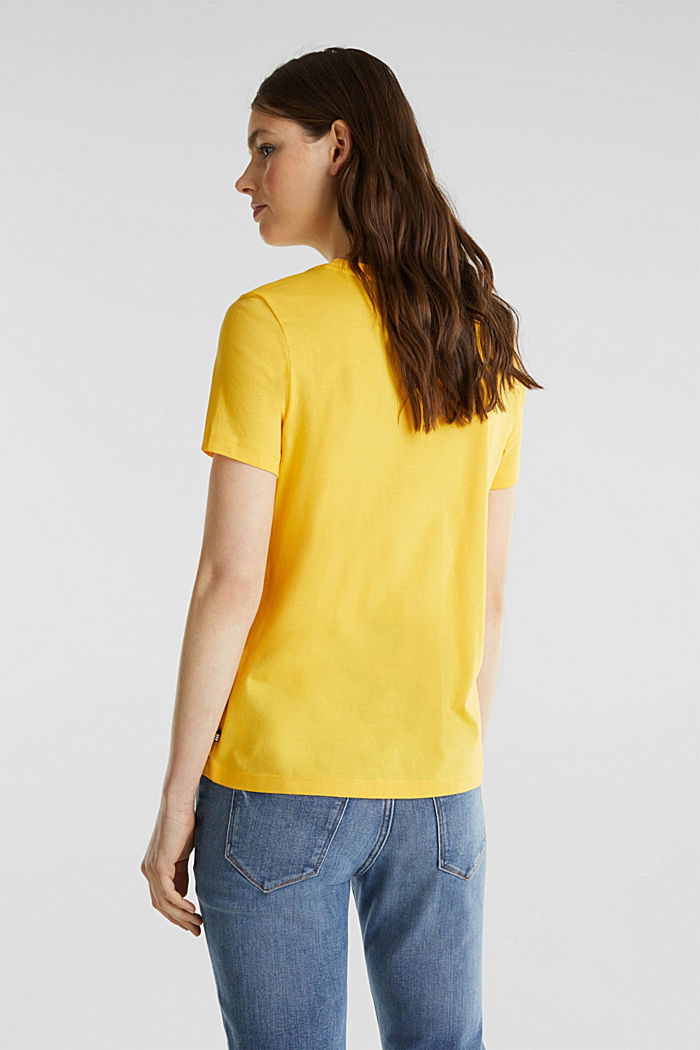T-shirt dal look basic, 100% cotone biologico, YELLOW, detail image number 3