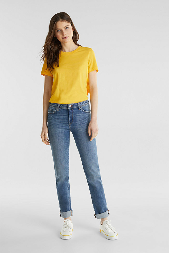 T-shirt dal look basic, 100% cotone biologico, YELLOW, detail image number 5