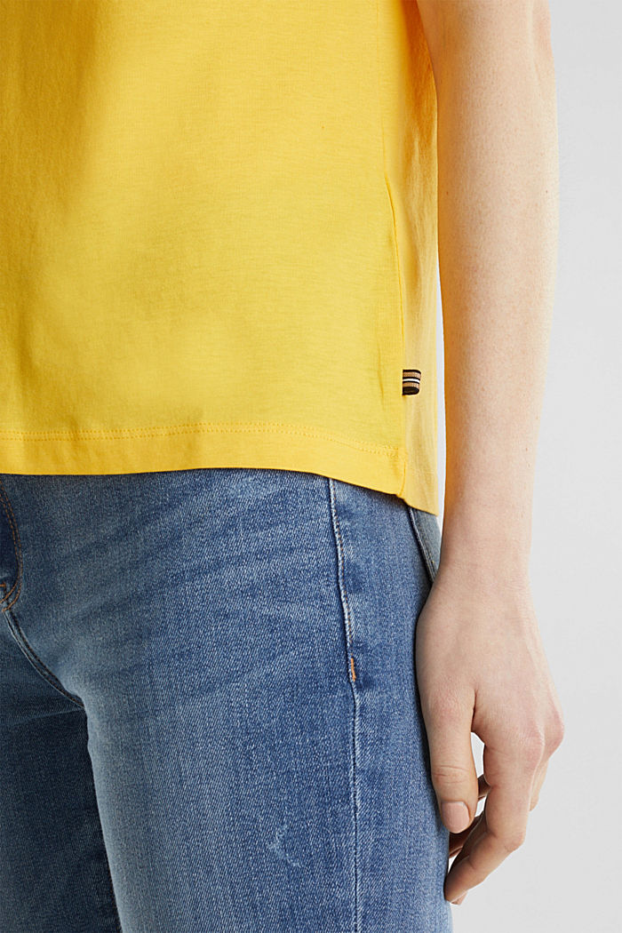 T-shirt dal look basic, 100% cotone biologico, YELLOW, detail image number 2