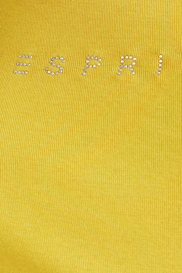 Strass-Logo-Shirt, 100% Baumwolle, YELLOW, detail image number 4