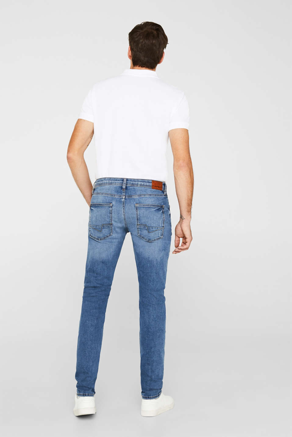 Super stretchy jeans with washed-out effect, BLUE LIGHT WASH, detail image number 1