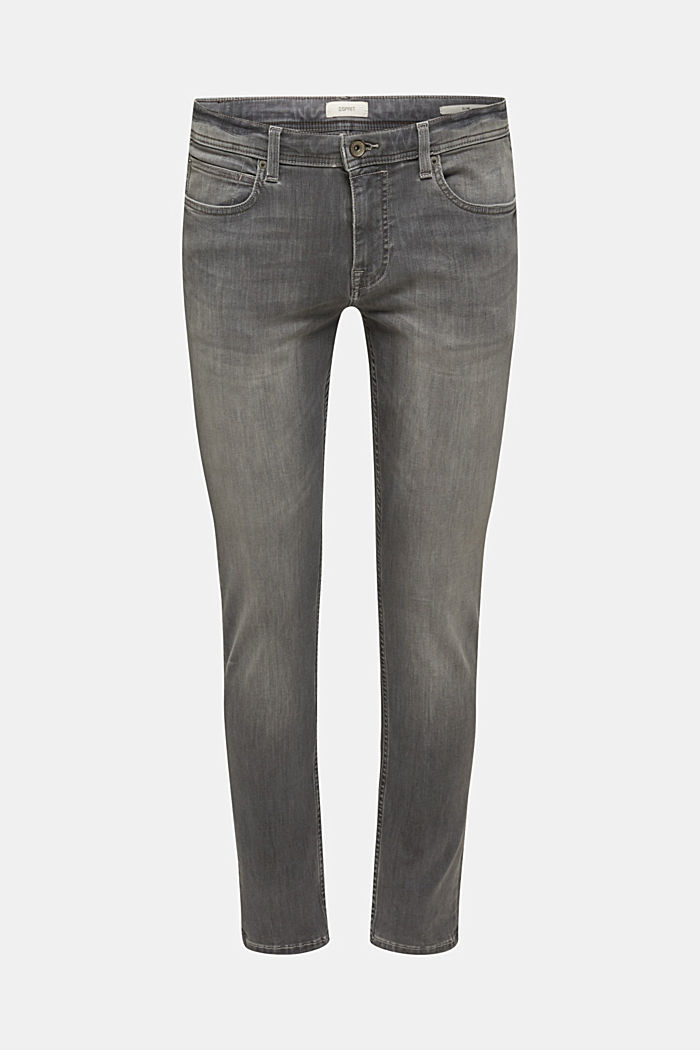 Superstretchjeans met washed-out effect, GREY LIGHT WASHED, detail image number 0