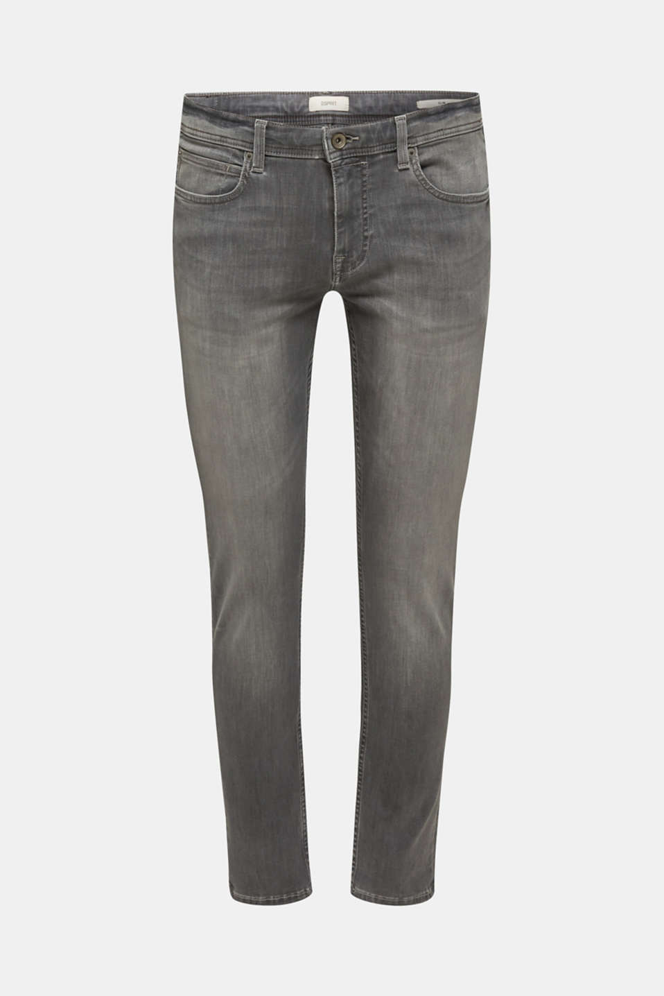 Super stretchy jeans with washed-out effect, GREY LIGHT WASH, detail image number 7