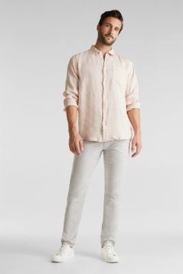 Stretch chinos made of twill, LIGHT GREY, detail