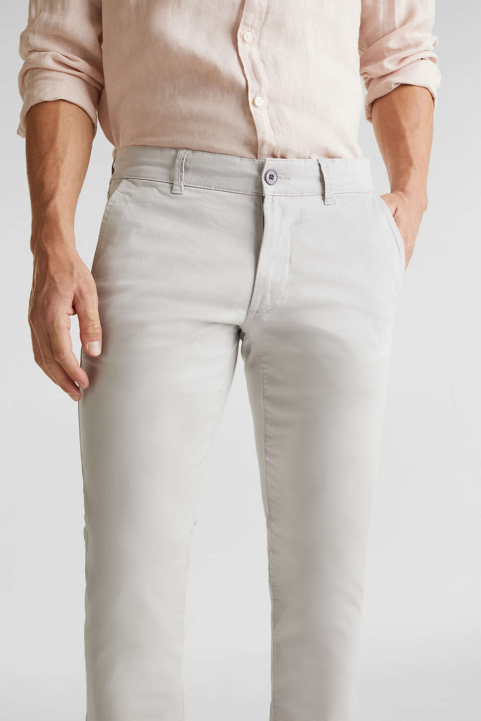 Stretch chinos made of twill, LIGHT GREY, detail image number 2