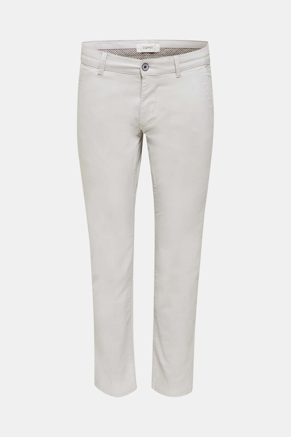 Stretch chinos made of twill, LIGHT GREY, detail image number 7
