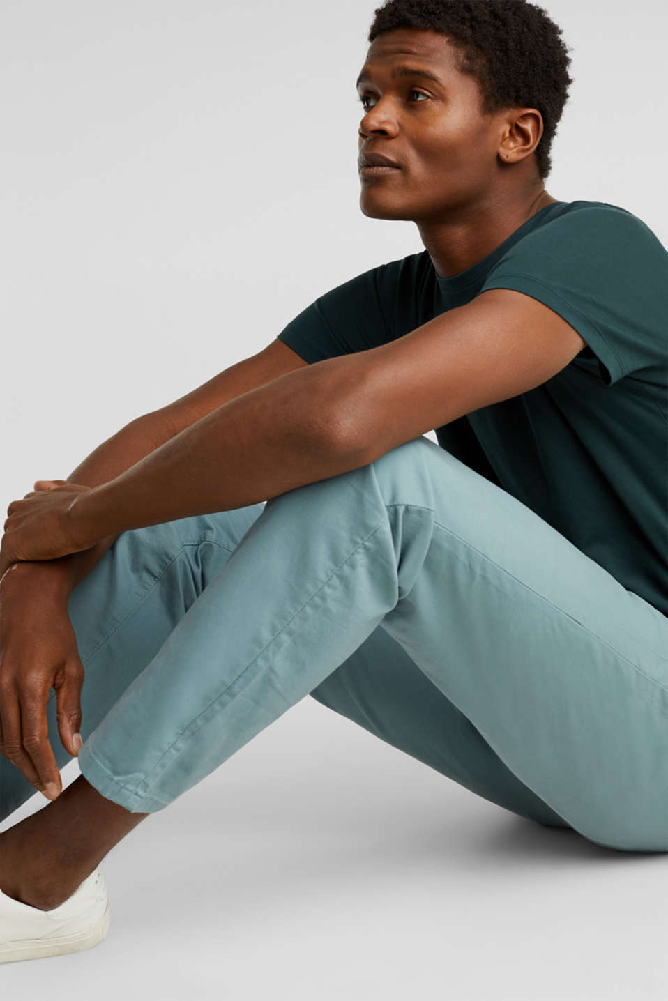 Stretch chinos made of twill, TEAL GREEN, detail image number 0