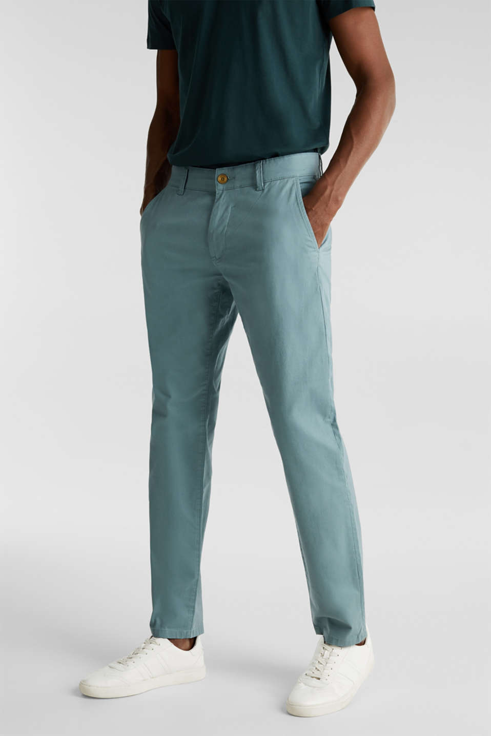 Stretch chinos made of twill, TEAL GREEN, detail image number 4