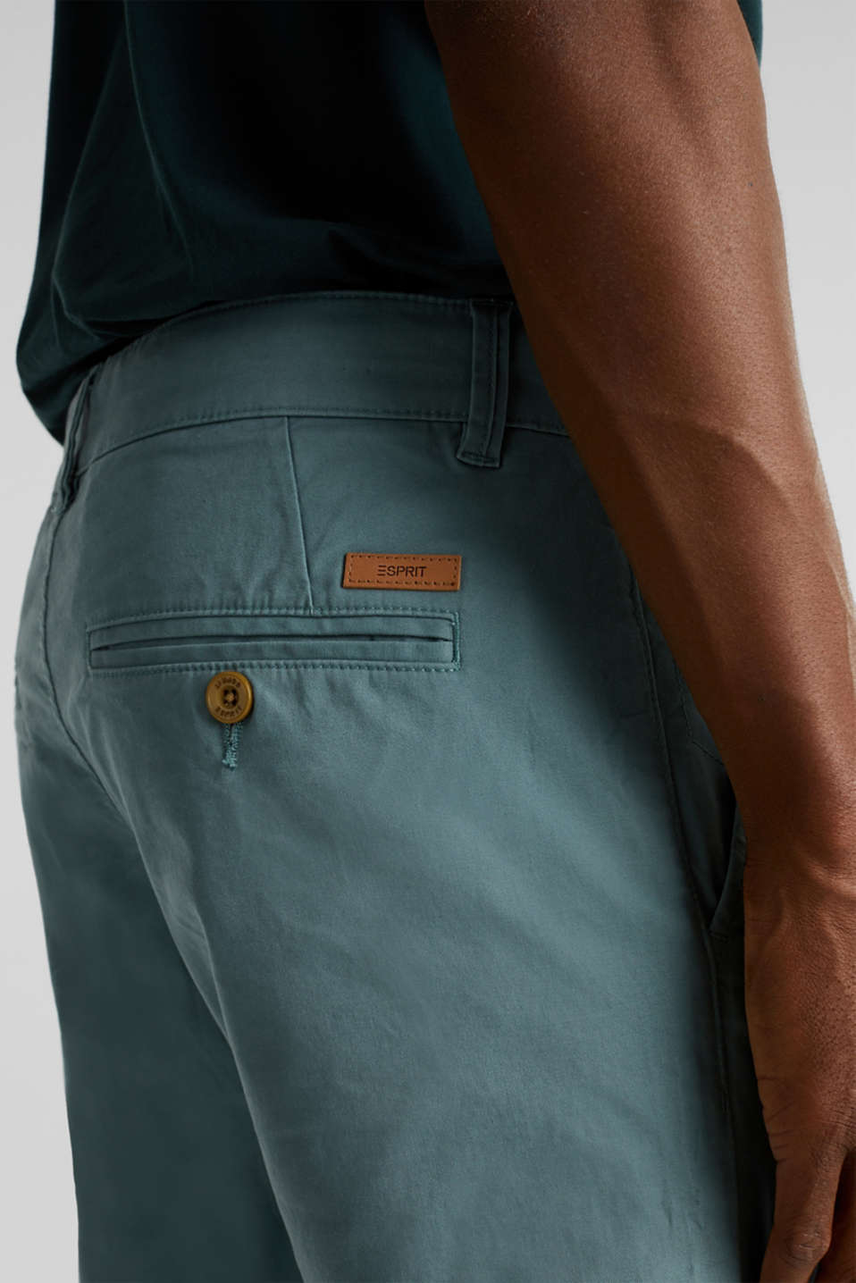 Stretch chinos made of twill, TEAL GREEN, detail image number 3