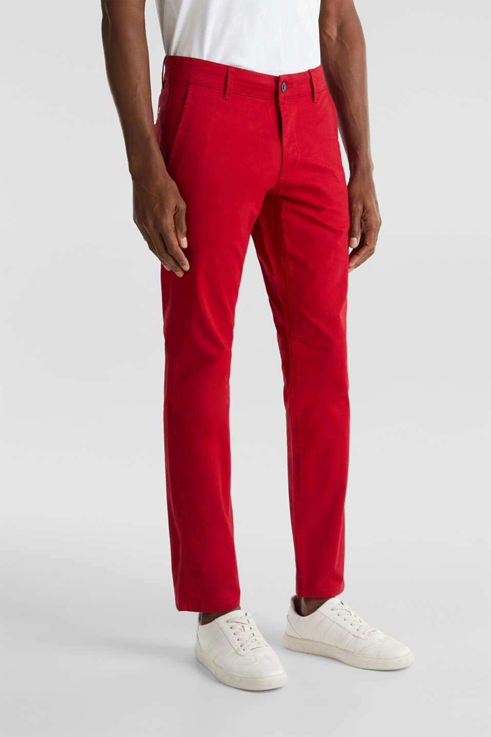 Stretch chinos made of twill, RED, detail image number 0