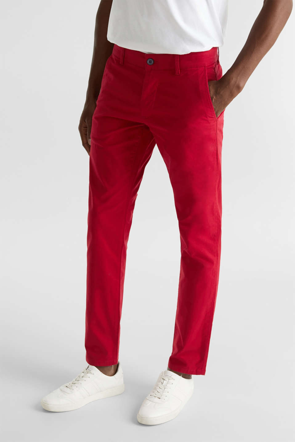 Stretch chinos made of twill, RED, detail image number 5
