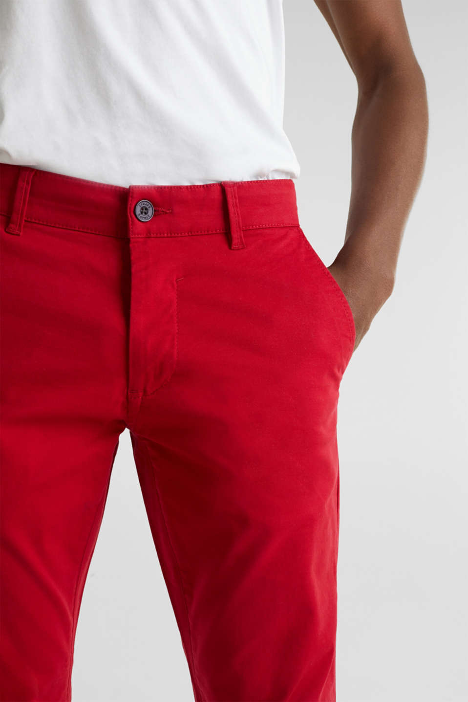 Stretch chinos made of twill, RED, detail image number 2