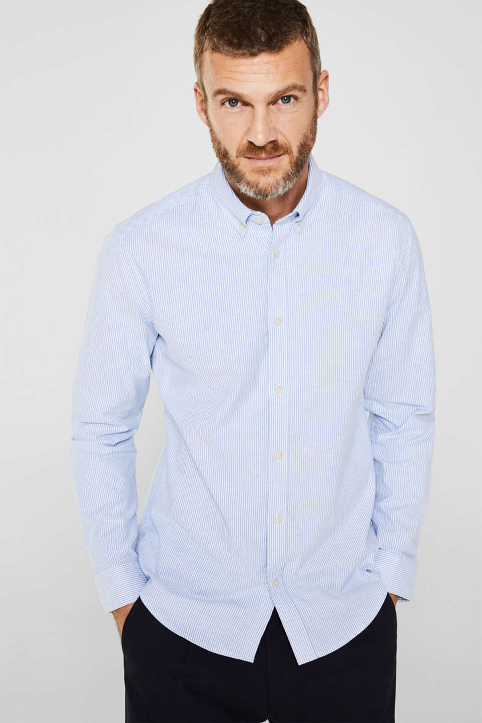 Oxford shirt in stretch cotton, LIGHT BLUE 3, detail image number 0