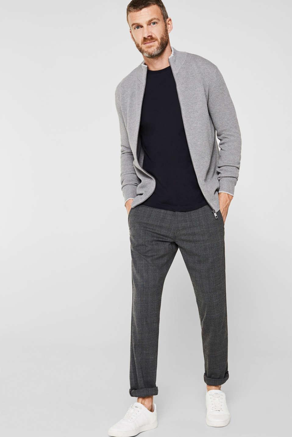 Textured cardigan in 100% cotton, MEDIUM GREY 5, detail image number 1