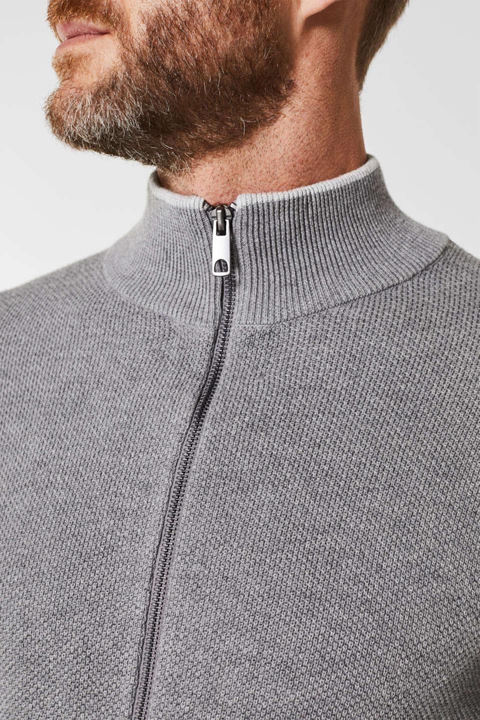 Textured cardigan in 100% cotton, MEDIUM GREY 5, detail image number 2