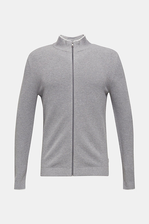 Textured cardigan in 100% cotton